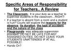 specific areas of responsibility for teachers a review