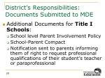 district s responsibilities documents submitted to mde5