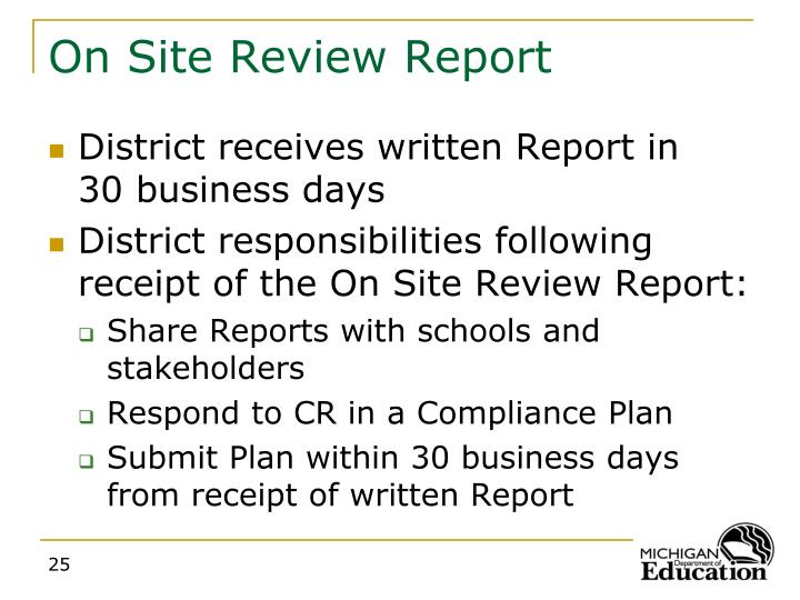 On Site Review Report