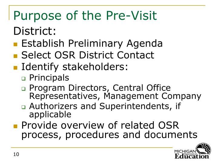 Purpose of the Pre-Visit
