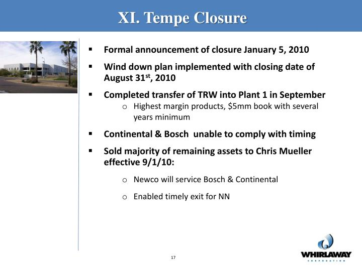 XI. Tempe Closure