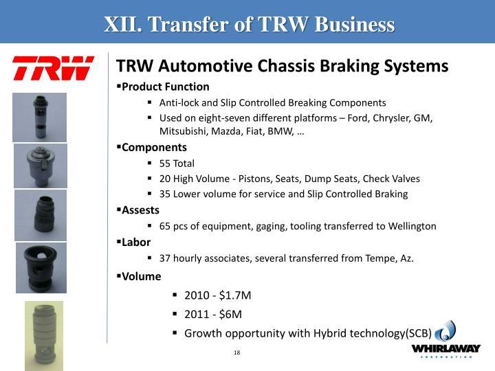 XII. Transfer of TRW Business