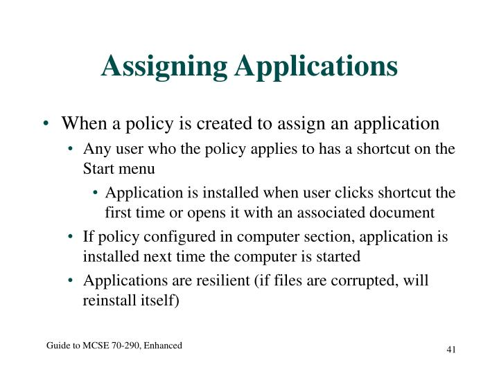 Assigning Applications