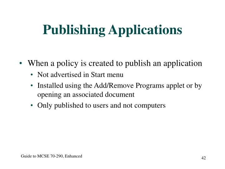 Publishing Applications