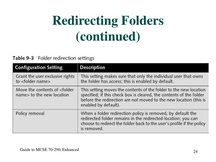 Redirecting Folders (continued)