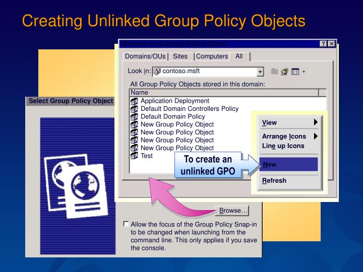 Browse for a Group Policy Object