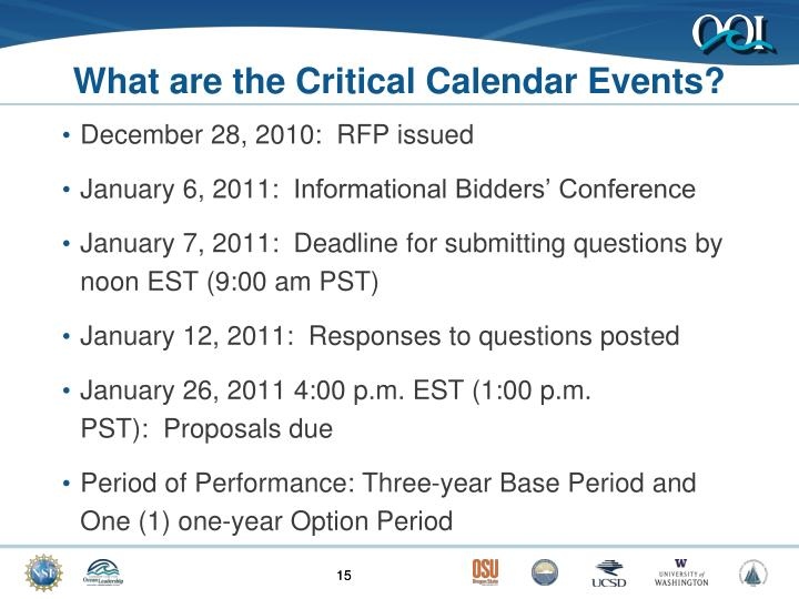 What are the Critical Calendar Events?