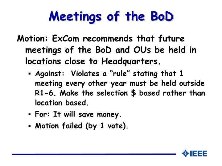 Meetings of the BoD