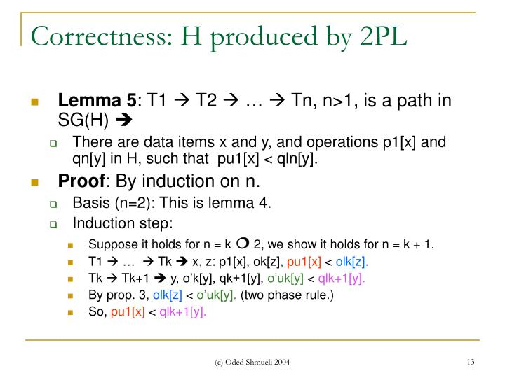 Correctness: H produced by 2PL