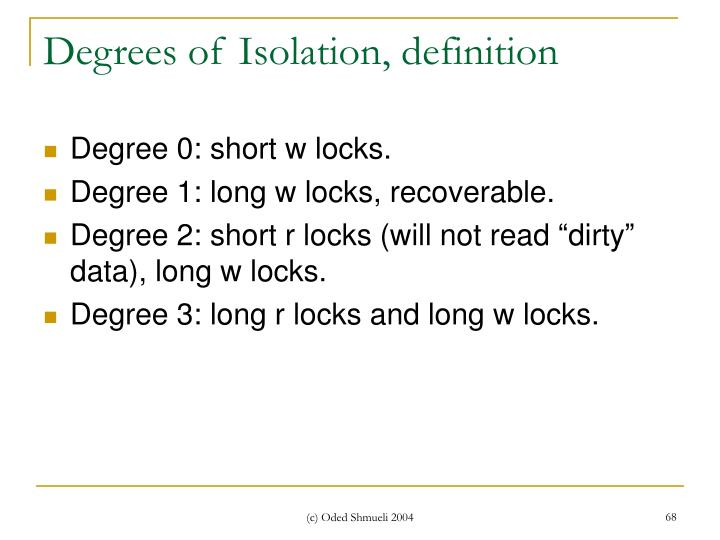 Degrees of Isolation, definition