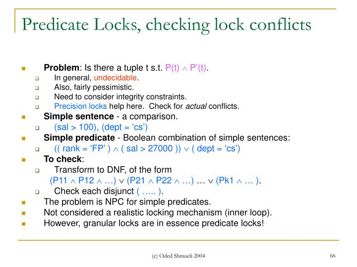 Predicate Locks, checking lock conflicts