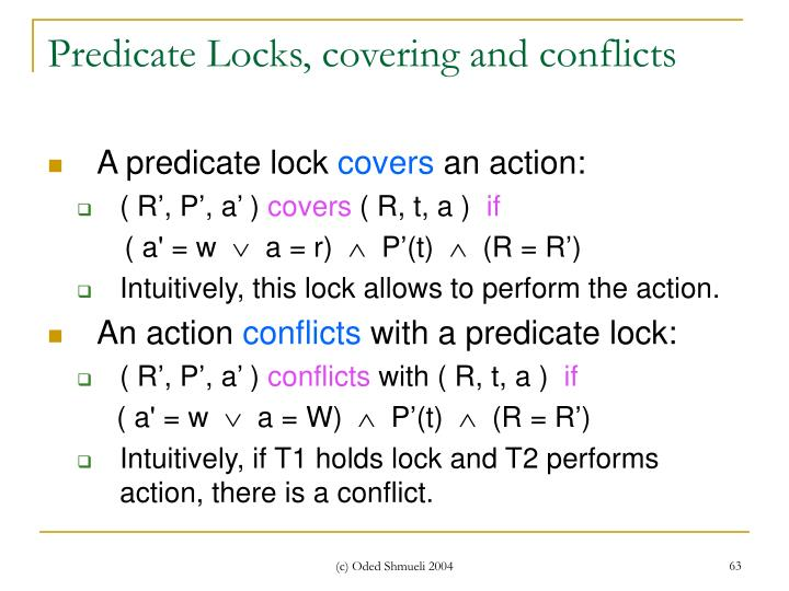 Predicate Locks, covering and conflicts