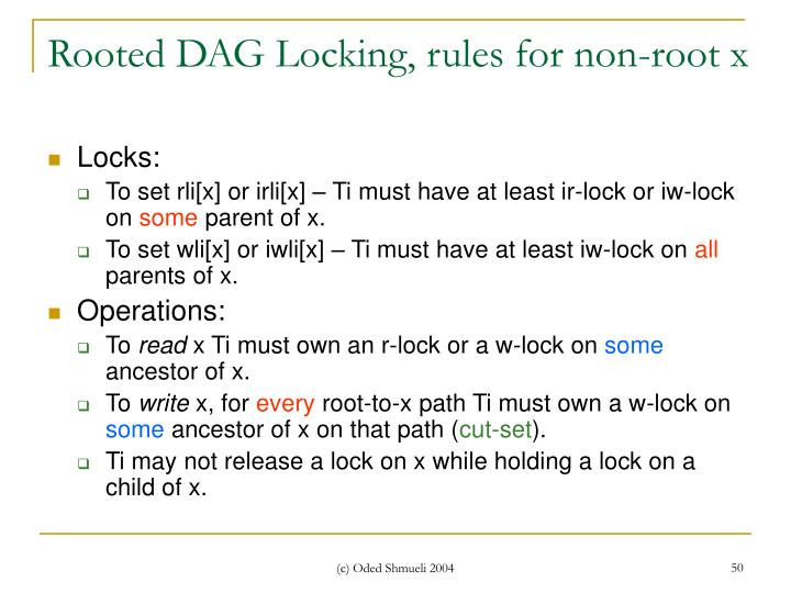 Rooted DAG Locking, rules for non-root x
