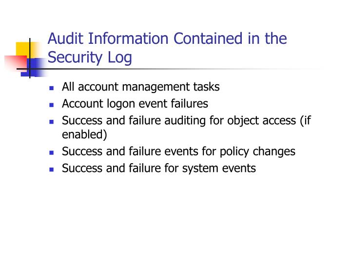 Audit Information Contained in the Security Log