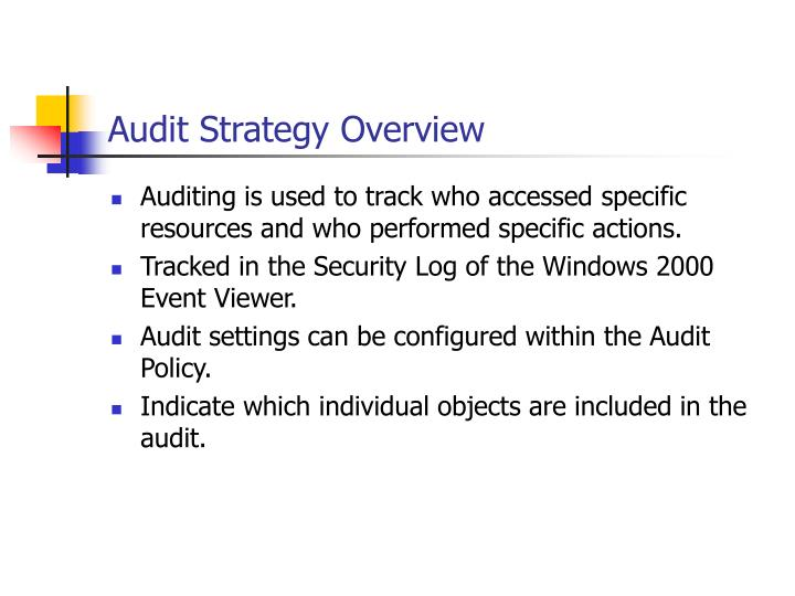 Audit Strategy Overview