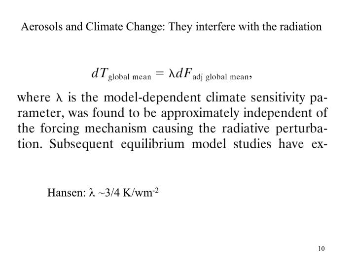 Aerosols and Climate Change: They interfere with the radiation