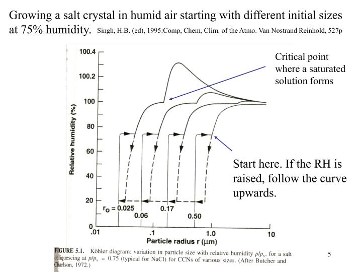 Growing a salt crystal in humid air starting with different initial sizes at 75% humidity.