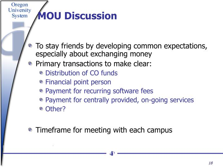 MOU Discussion
