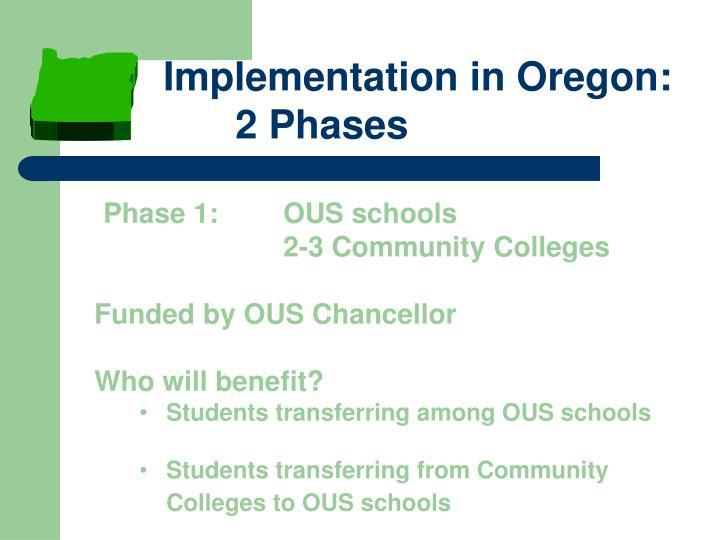Implementation in Oregon: