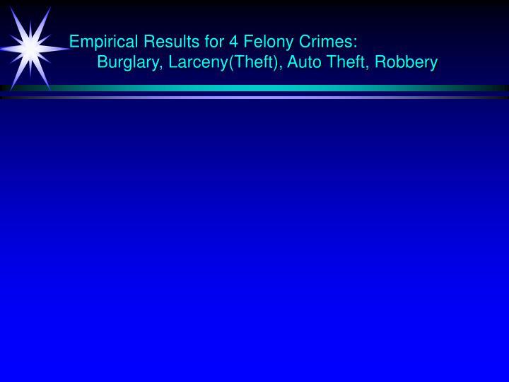 Empirical Results for 4 Felony Crimes: