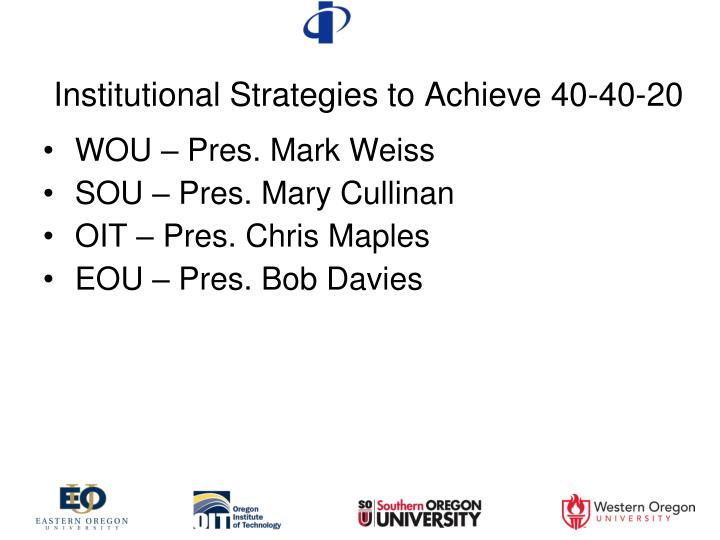 Institutional Strategies to Achieve 40-40-20