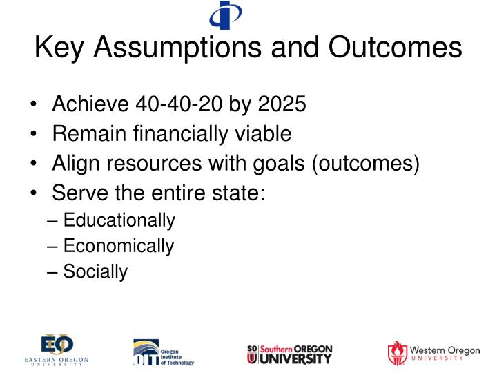 Key assumptions and outcomes