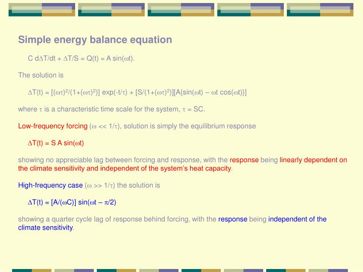 Simple energy balance equation