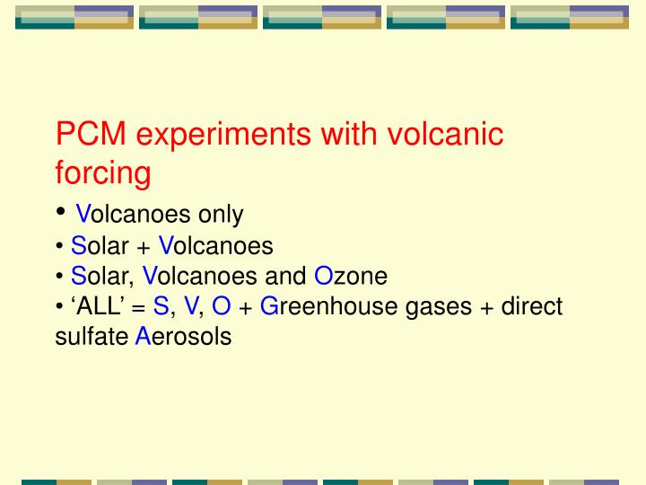 PCM experiments with volcanic forcing