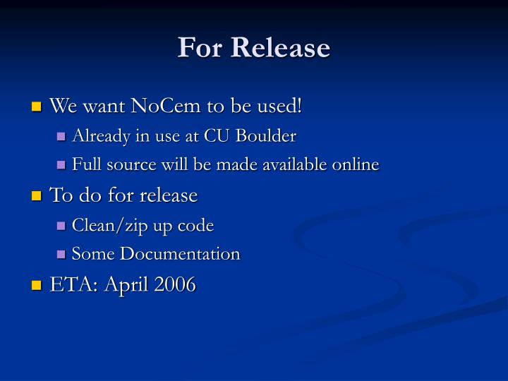 For Release