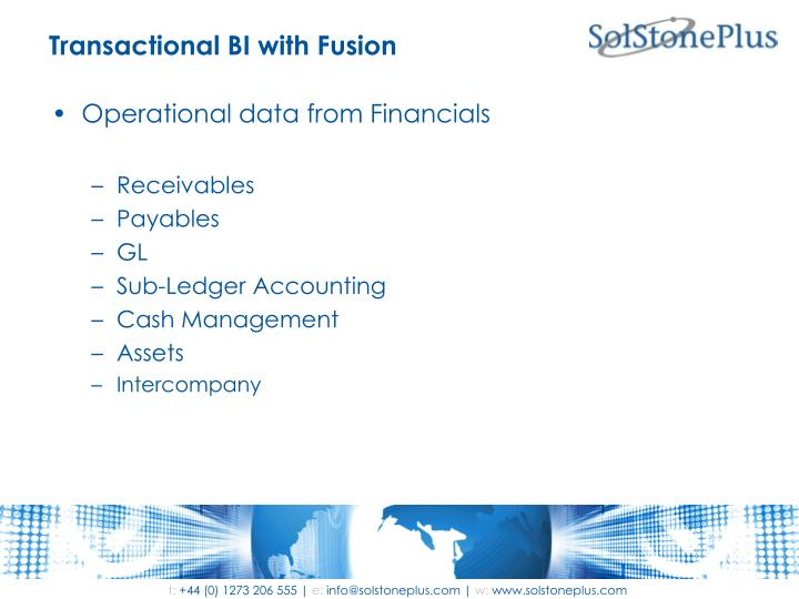 Transactional BI with Fusion