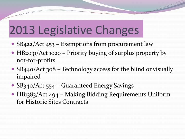 2013 Legislative Changes