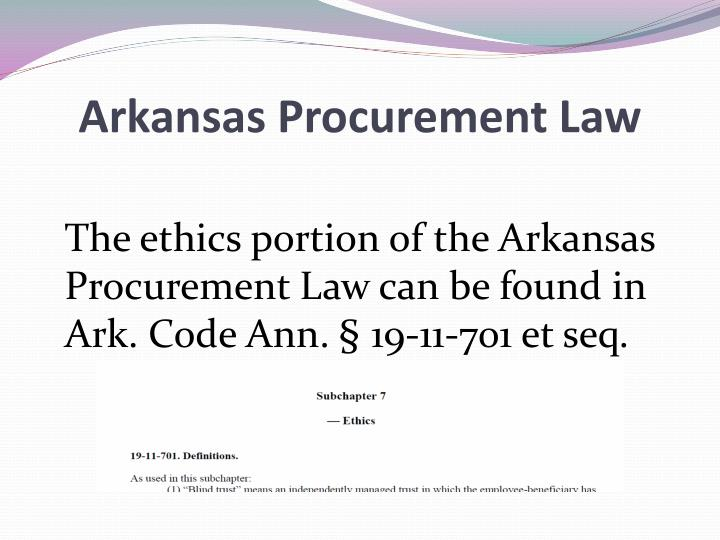 Arkansas Procurement Law