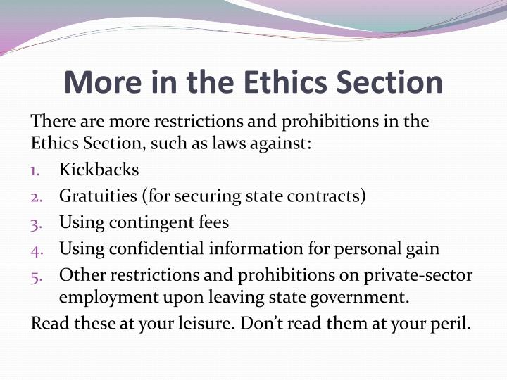 More in the Ethics Section