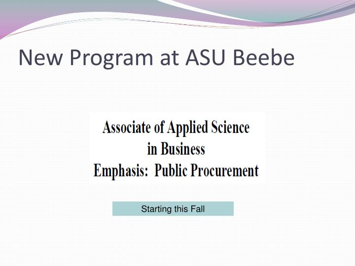 New program at asu beebe