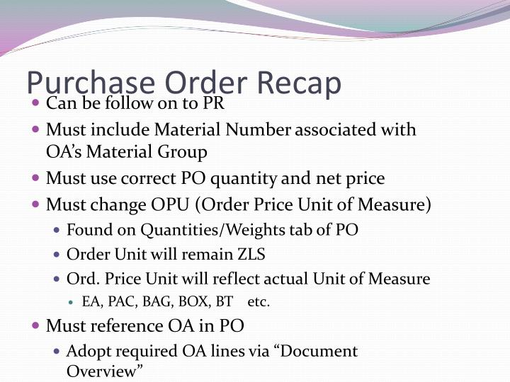 Purchase Order Recap