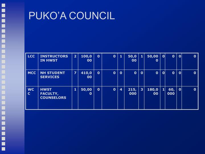 PUKO'A COUNCIL