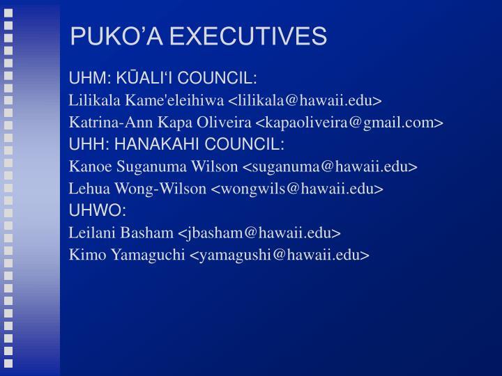 PUKO'A EXECUTIVES