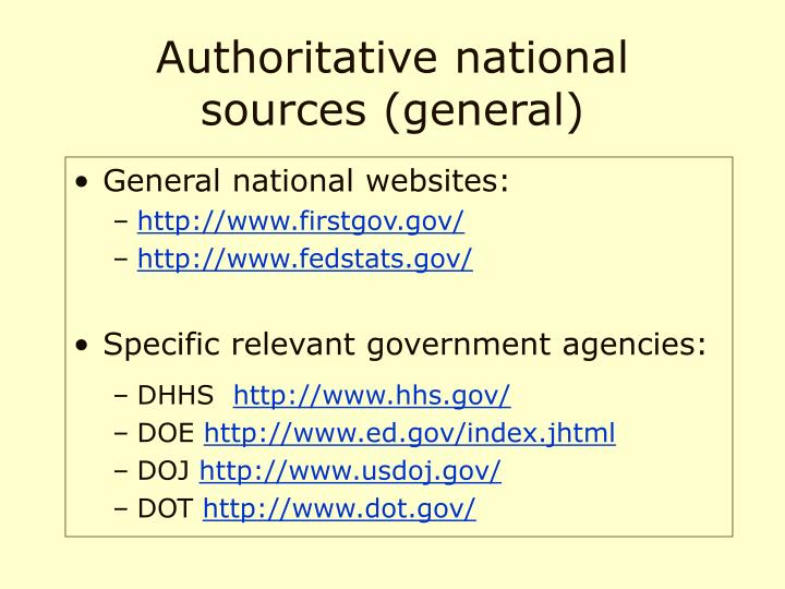 Authoritative national sources general