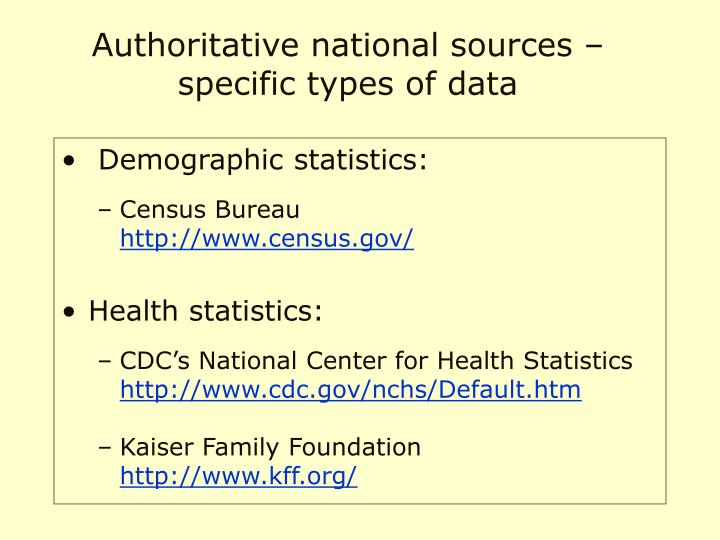 Authoritative national sources –specific types of data