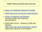 health resources services sources