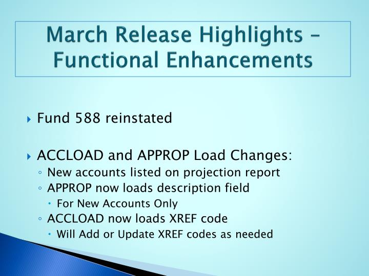 March release highlights functional enhancements