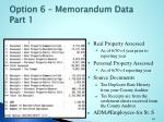 option 6 memorandum data part 1
