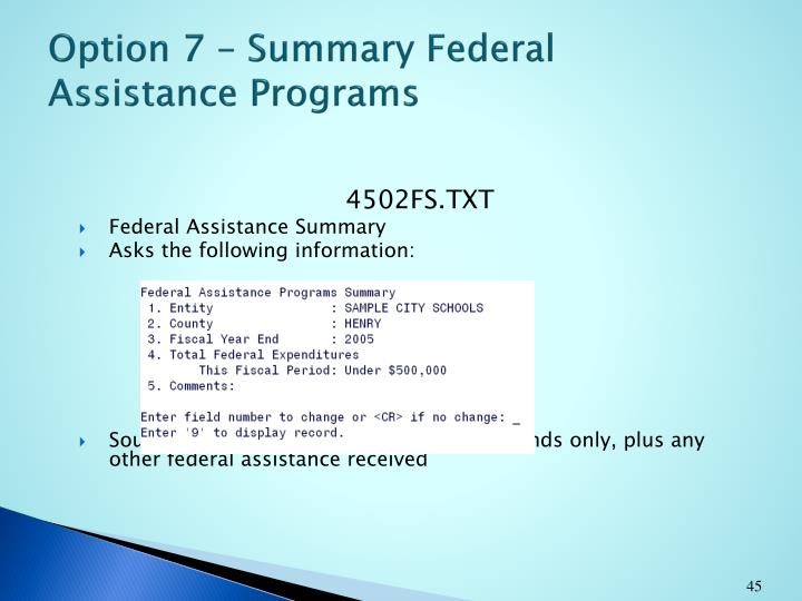 Option 7 – Summary Federal Assistance Programs