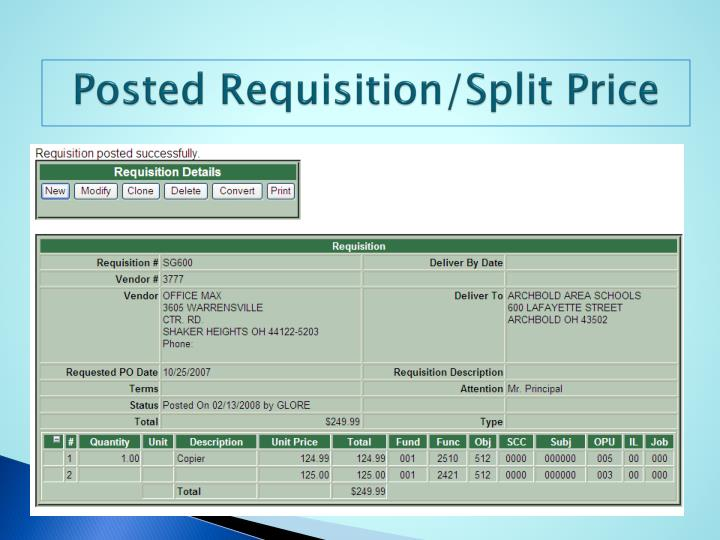 Posted Requisition/Split Price