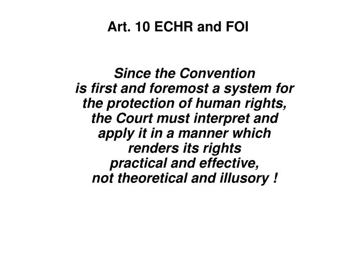 Art. 10 ECHR and FOI
