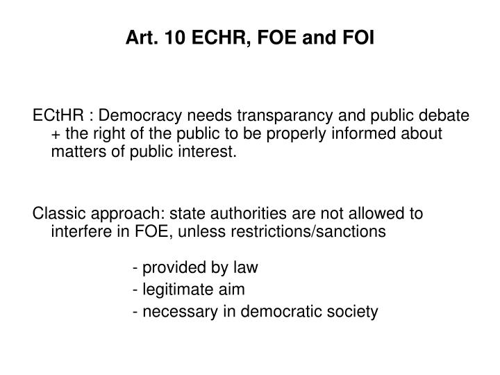Art 10 echr foe and foi