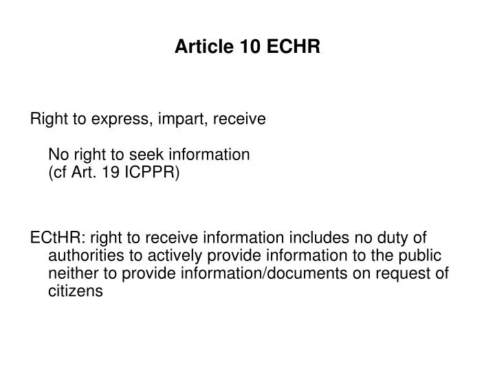 Article 10 ECHR