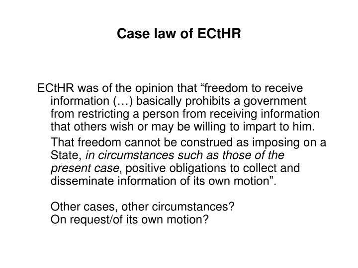 Case law of ECtHR