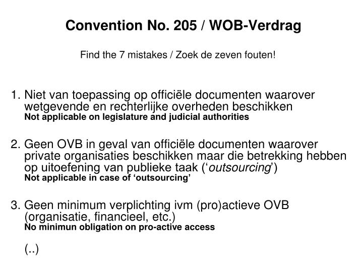 Convention No. 205 / WOB-Verdrag