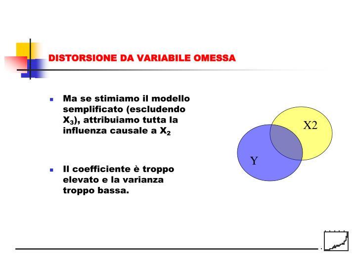 Ma se stimiamo il modello semplificato (escludendo X